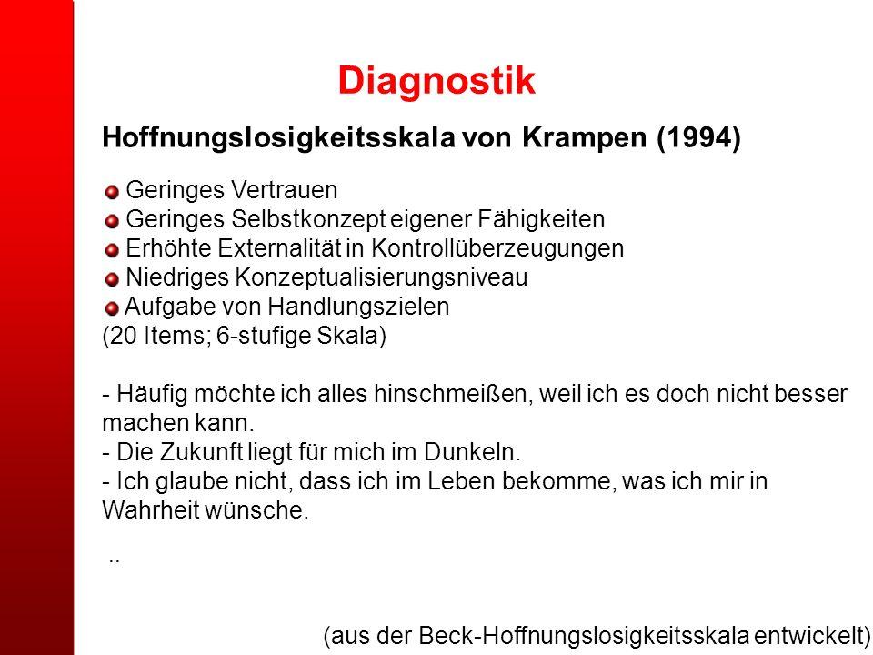 Diagnostik (aus der Beck-Hoffnungslosigkeitsskala entwickelt) Hoffnungslosigkeitsskala von Krampen (1994) Geringes Vertrauen Geringes Selbstkonzept ei