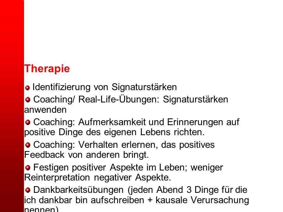 Therapie Identifizierung von Signaturstärken Coaching/ Real-Life-Übungen: Signaturstärken anwenden Coaching: Aufmerksamkeit und Erinnerungen auf posit