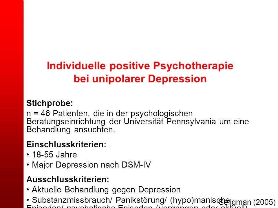 Individuelle positive Psychotherapie bei unipolarer Depression Stichprobe: n = 46 Patienten, die in der psychologischen Beratungseinrichtung der Unive
