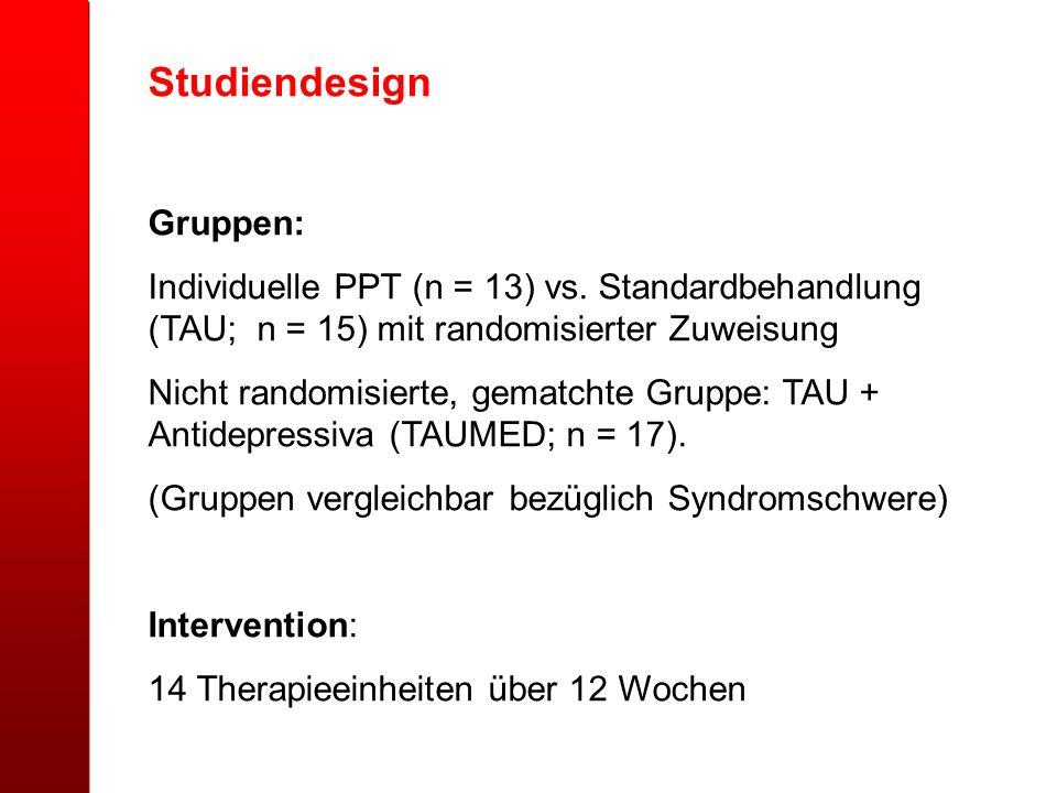 Studiendesign Gruppen: Individuelle PPT (n = 13) vs. Standardbehandlung (TAU; n = 15) mit randomisierter Zuweisung Nicht randomisierte, gematchte Grup