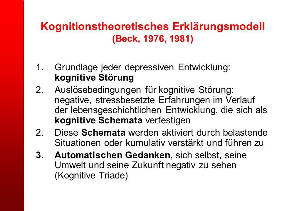 Kognitionstheoretisches Erklärungsmodell (Beck, 1976, 1981) 1.Grundlage jeder depressiven Entwicklung: kognitive Störung 2.Auslösebedingungen für kogn