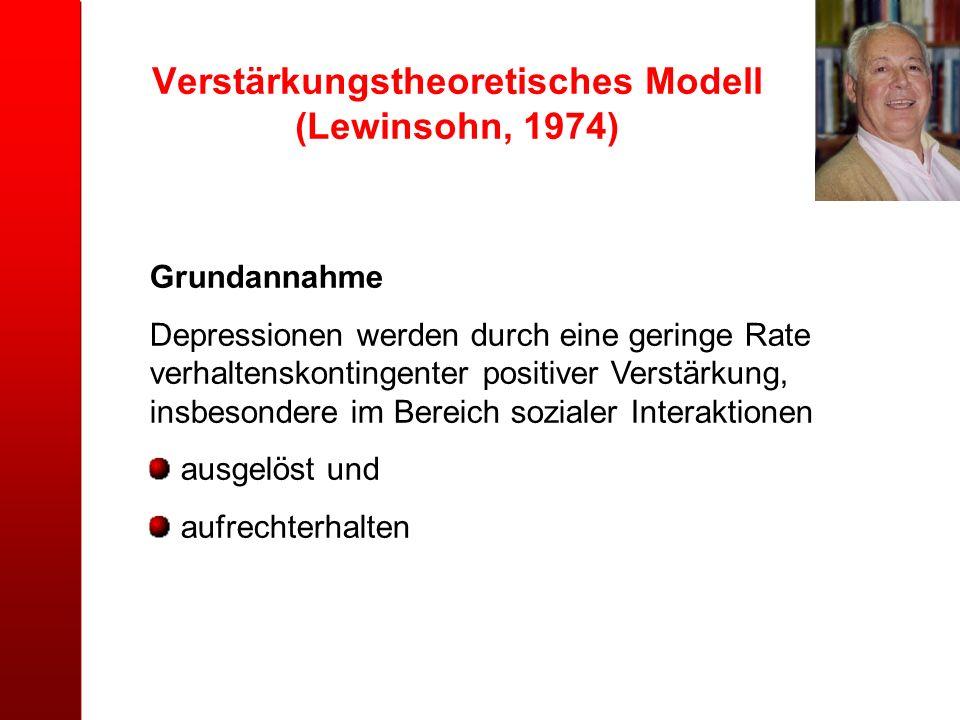 Verstärkungstheoretisches Modell (Lewinsohn, 1974) Grundannahme Depressionen werden durch eine geringe Rate verhaltenskontingenter positiver Verstärku
