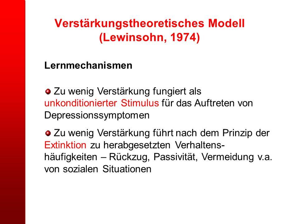 Verstärkungstheoretisches Modell (Lewinsohn, 1974) Lernmechanismen Zu wenig Verstärkung fungiert als unkonditionierter Stimulus für das Auftreten von