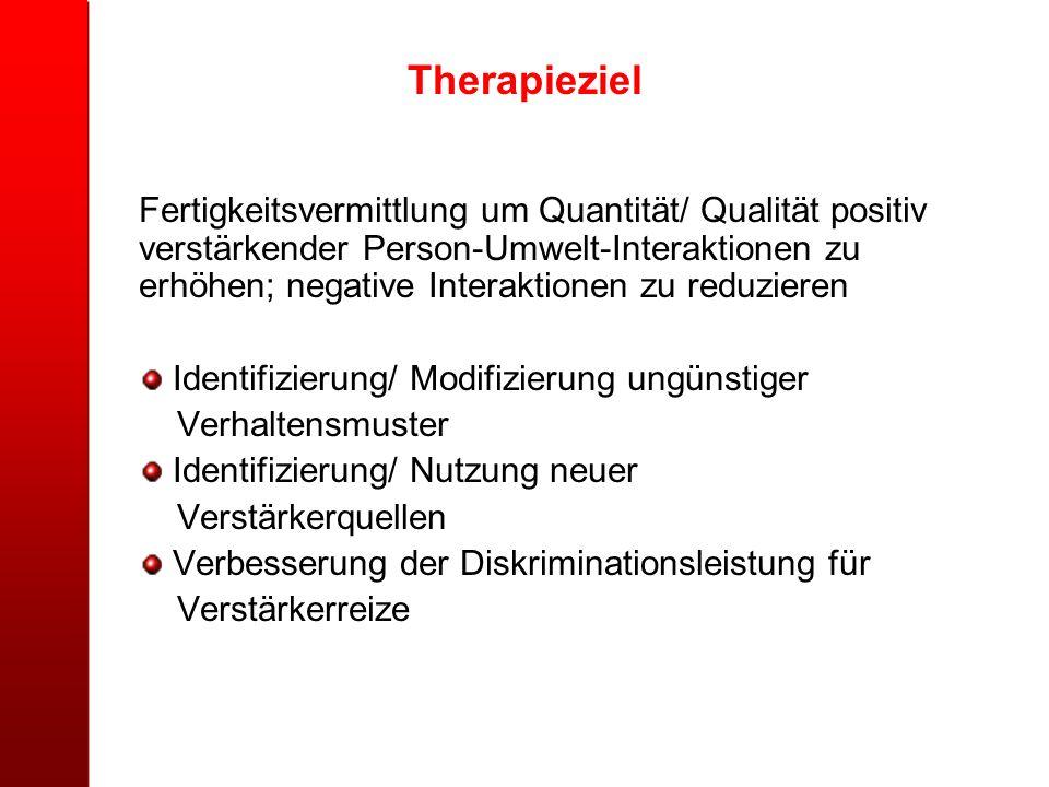 Therapieziel Fertigkeitsvermittlung um Quantität/ Qualität positiv verstärkender Person-Umwelt-Interaktionen zu erhöhen; negative Interaktionen zu red