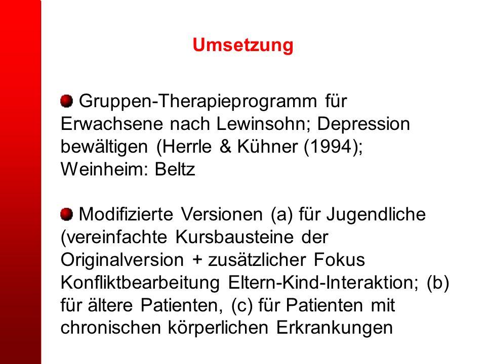Umsetzung Gruppen-Therapieprogramm für Erwachsene nach Lewinsohn; Depression bewältigen (Herrle & Kühner (1994); Weinheim: Beltz Modifizierte Versione
