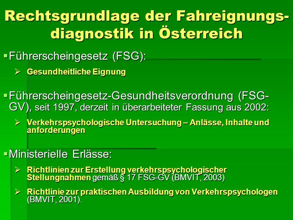 Rechtsgrundlage der Fahreignungs- diagnostik in Österreich Führerscheingesetz (FSG): Führerscheingesetz (FSG): Gesundheitliche Eignung Gesundheitliche Eignung Führerscheingesetz-Gesundheitsverordnung (FSG- GV), seit 1997, derzeit in überarbeiteter Fassung aus 2002: Führerscheingesetz-Gesundheitsverordnung (FSG- GV), seit 1997, derzeit in überarbeiteter Fassung aus 2002: Verkehrspsychologische Untersuchung – Anlässe, Inhalte und anforderungen Verkehrspsychologische Untersuchung – Anlässe, Inhalte und anforderungen Ministerielle Erlässe: Ministerielle Erlässe: Richtlinien zur Erstellung verkehrspsychologischer Stellungnahmen gemäß § 17 FSG-GV (BMVIT, 2003) Richtlinien zur Erstellung verkehrspsychologischer Stellungnahmen gemäß § 17 FSG-GV (BMVIT, 2003) Richtlinie zur praktischen Ausbildung von Verkehrspsychologen (BMVIT, 2001).