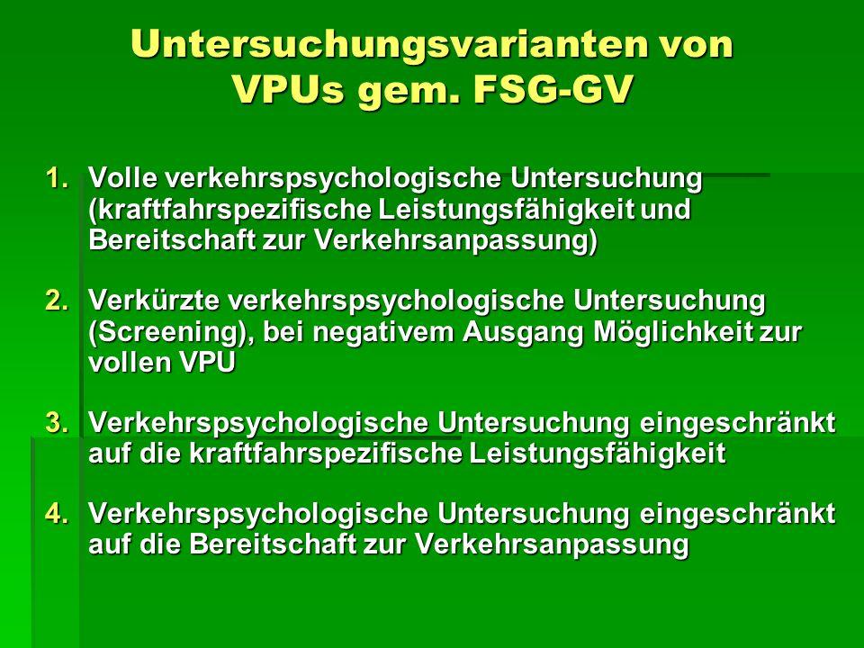 Untersuchungsvarianten von VPUs gem. FSG-GV 1.Volle verkehrspsychologische Untersuchung (kraftfahrspezifische Leistungsfähigkeit und Bereitschaft zur
