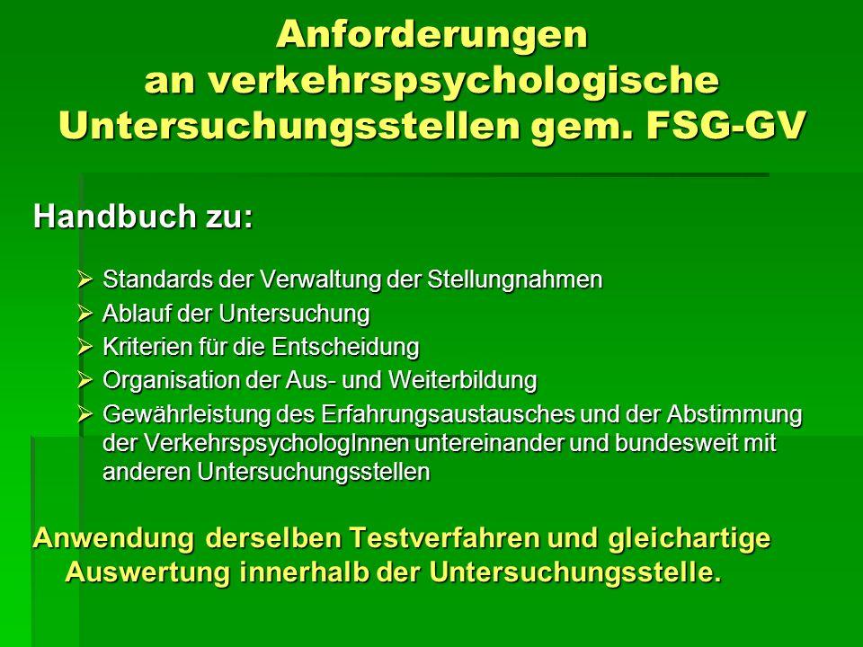 Anforderungen an verkehrspsychologische Untersuchungsstellen gem. FSG-GV Handbuch zu: Standards der Verwaltung der Stellungnahmen Standards der Verwal