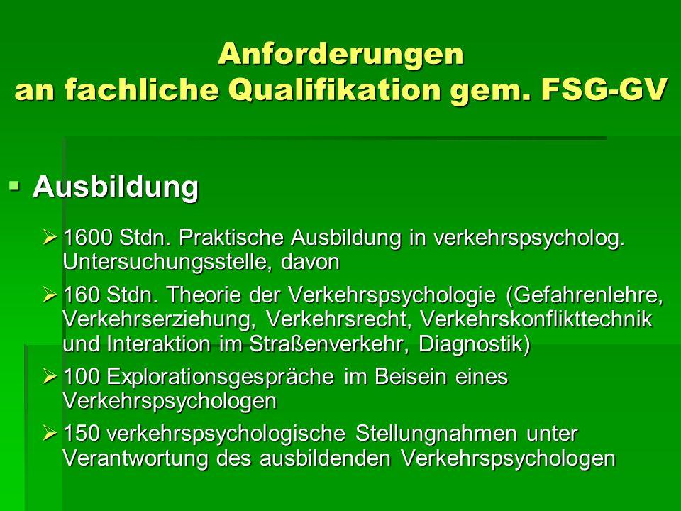 Anforderungen an fachliche Qualifikation gem. FSG-GV Ausbildung Ausbildung 1600 Stdn. Praktische Ausbildung in verkehrspsycholog. Untersuchungsstelle,