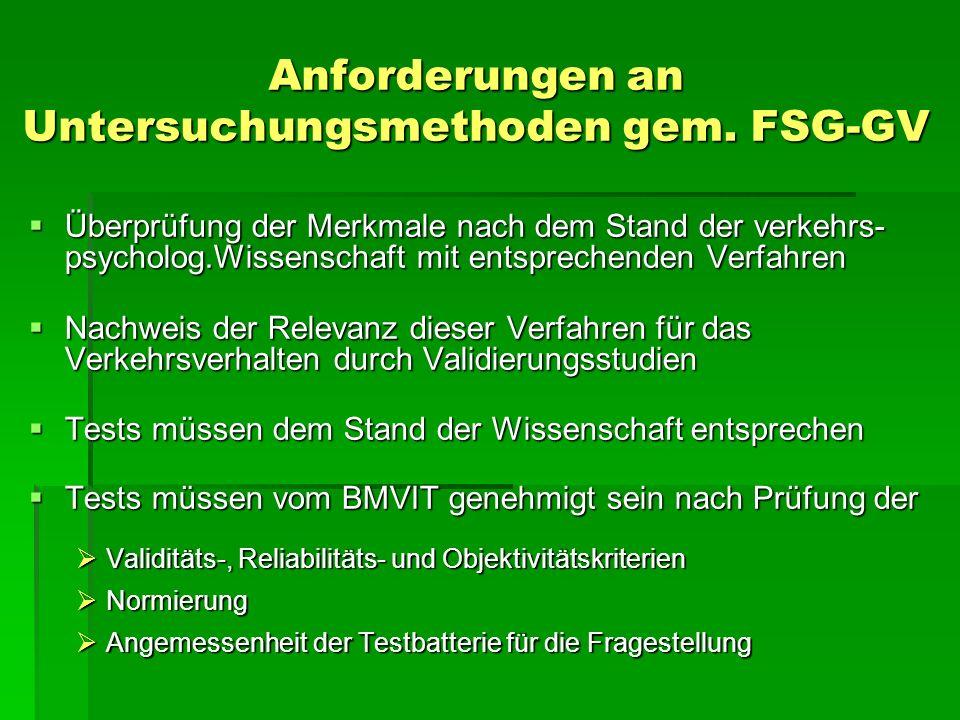 Anforderungen an Untersuchungsmethoden gem. FSG-GV Überprüfung der Merkmale nach dem Stand der verkehrs- psycholog.Wissenschaft mit entsprechenden Ver