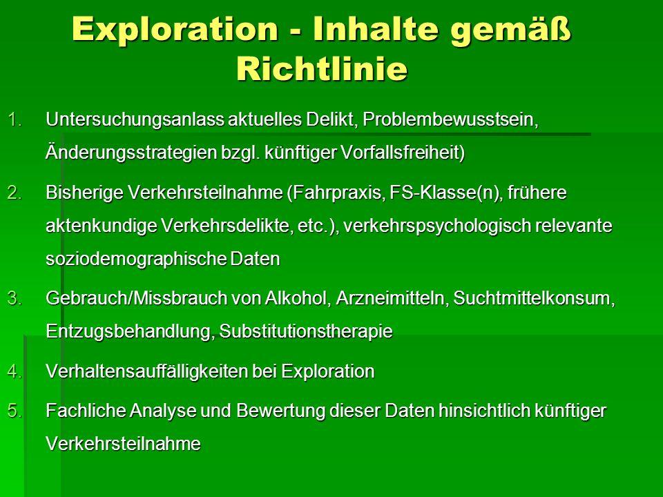 Exploration - Inhalte gemäß Richtlinie 1.Untersuchungsanlass aktuelles Delikt, Problembewusstsein, Änderungsstrategien bzgl. künftiger Vorfallsfreihei