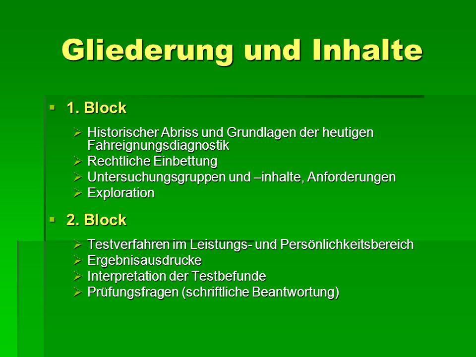 Gliederung und Inhalte 1. Block 1. Block Historischer Abriss und Grundlagen der heutigen Fahreignungsdiagnostik Historischer Abriss und Grundlagen der