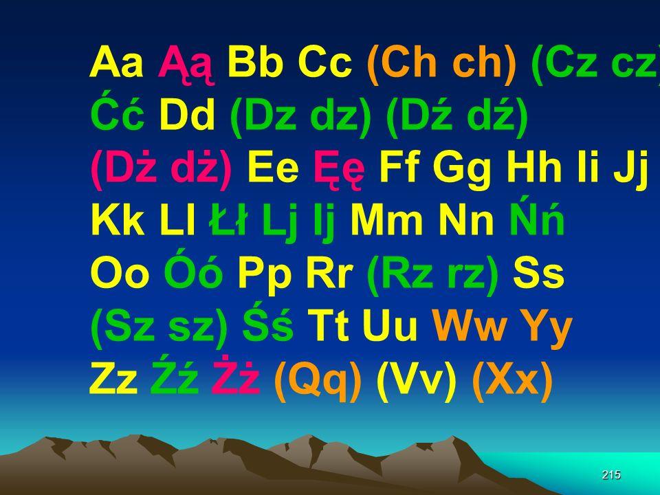 214 Aa Ąą Bb Cc (Ch ch) (Cz cz) Ćć Dd (Dz dz) (Dź dź) (Dż dż) Ee Ęę Ff Gg Hh Ii Jj Kk Ll Łł Lj Ij Mm Nn Ńń Oo Óó Pp Rr (Rz rz) Ss (Sz sz) Śś Tt Uu Ww