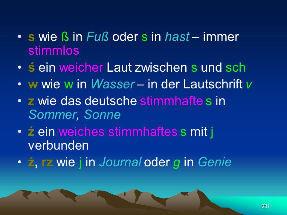 230 Konsonanten die Konsonanten b, k, p und t werden weniger gehaucht als im Deutschen. g wie g in sagen, Gurke h, ch ch in Krach, Dach ł wie das engl