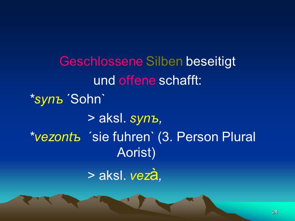 23 Umwandlung von Verbindungen aus Vokal + Konsonant zu den urslawischen Nasalvokalen * ę und * à