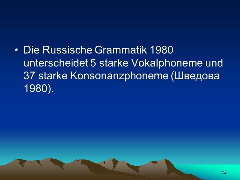 73 Phoneme. Die Zahl der Phoneme der russischen Sprache ist strittig. Die Vertreter der Moskauer phonologischen Schule nehmen an, dass (Buchstabe ы) k