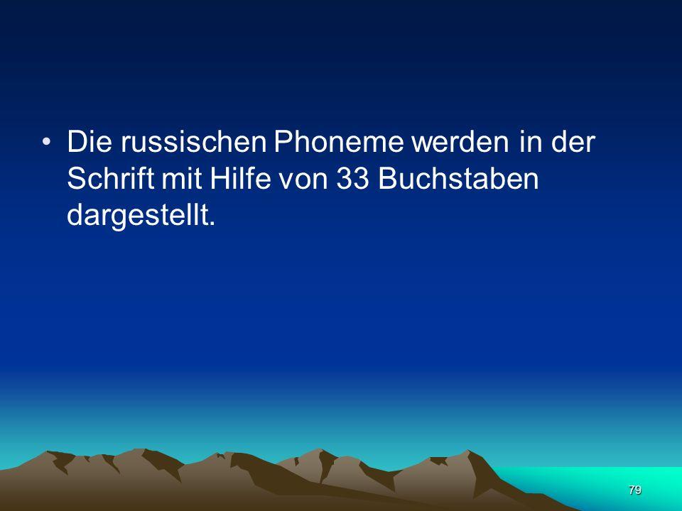 78 Im Hinblick auf die Zahl der Konsonanten steht die russische Sprache einigen Sprachen, zum Beispiel der Zigeunersprache (42 Phoneme) und dem Abchas