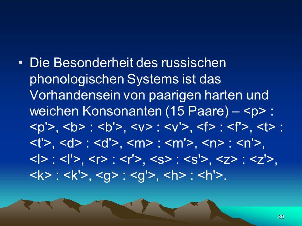 79 Die russischen Phoneme werden in der Schrift mit Hilfe von 33 Buchstaben dargestellt.