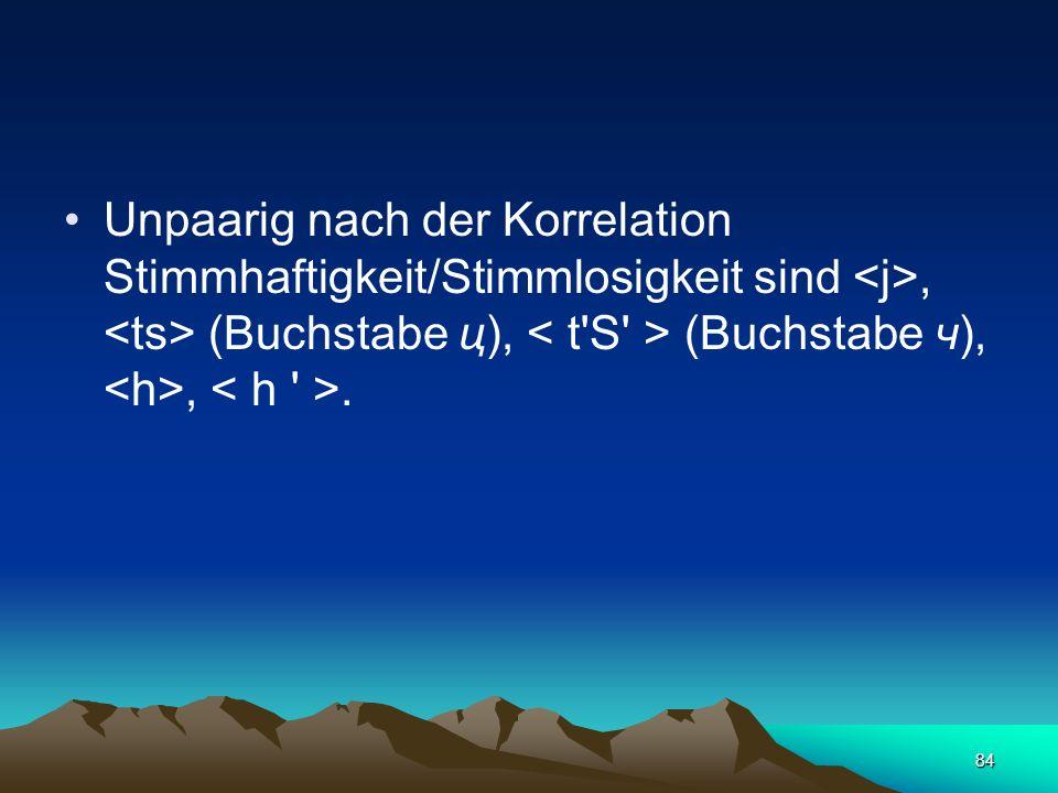 83 Nach der Korrelation Stimmhaftigkeit/Stimmlosigkeit werden 12 Paare von Konsonanten unterschieden – :, :, :, :, :, :, :, :, (Buchstabe ж), (Buchsta