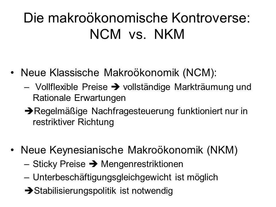 Die makroökonomische Kontroverse: NCM vs.