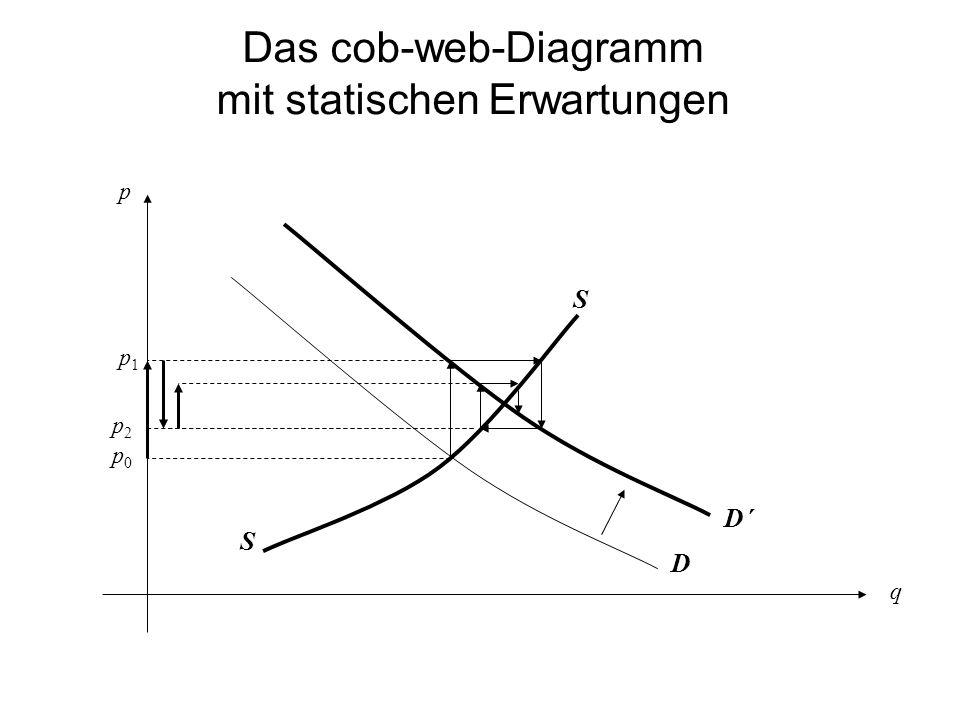 Das cob-web-Diagramm mit rationalen Erwartungen p q S D D´ S p0p0 p2p2 p1p1