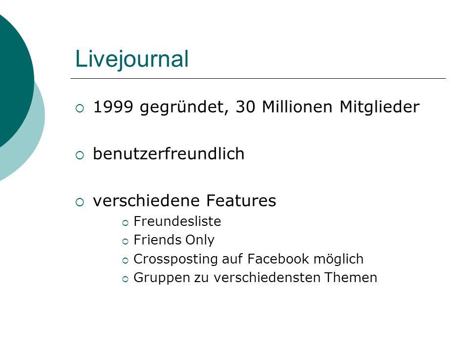 Livejournal 1999 gegründet, 30 Millionen Mitglieder benutzerfreundlich verschiedene Features Freundesliste Friends Only Crossposting auf Facebook möglich Gruppen zu verschiedensten Themen