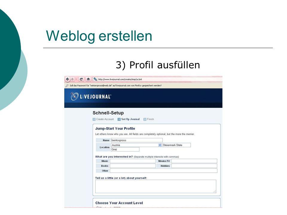 Weblog erstellen 3) Profil ausfüllen
