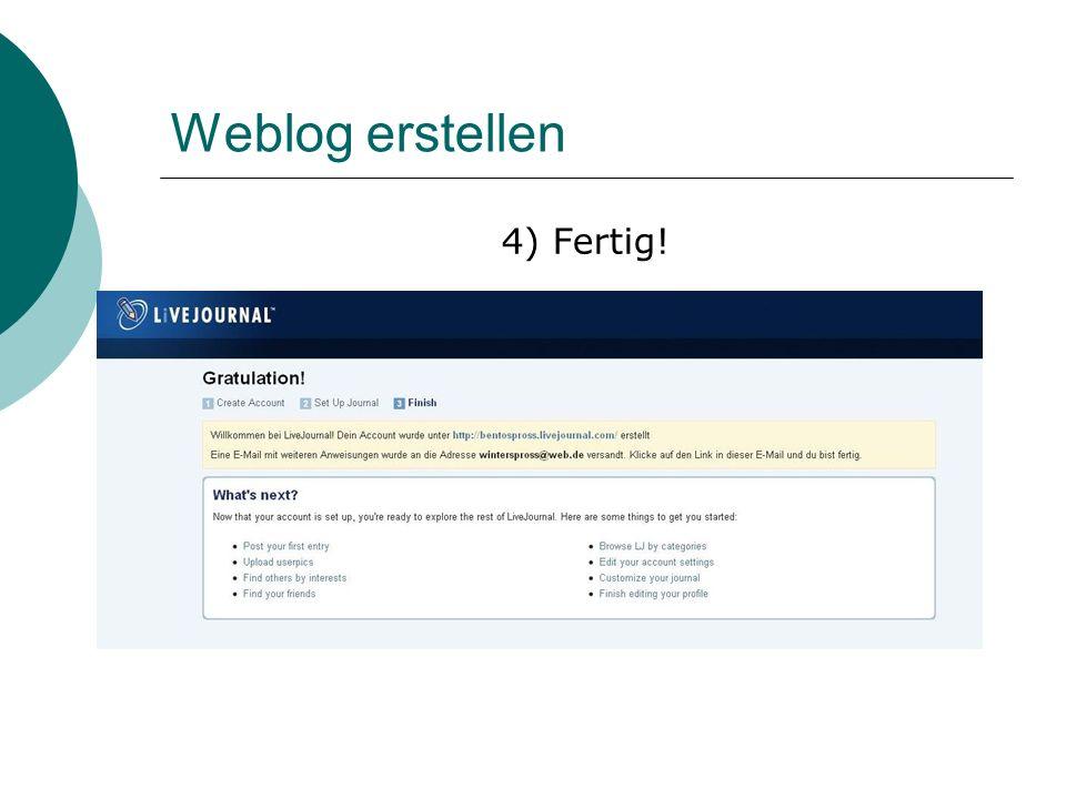 Weblog erstellen 4) Fertig!