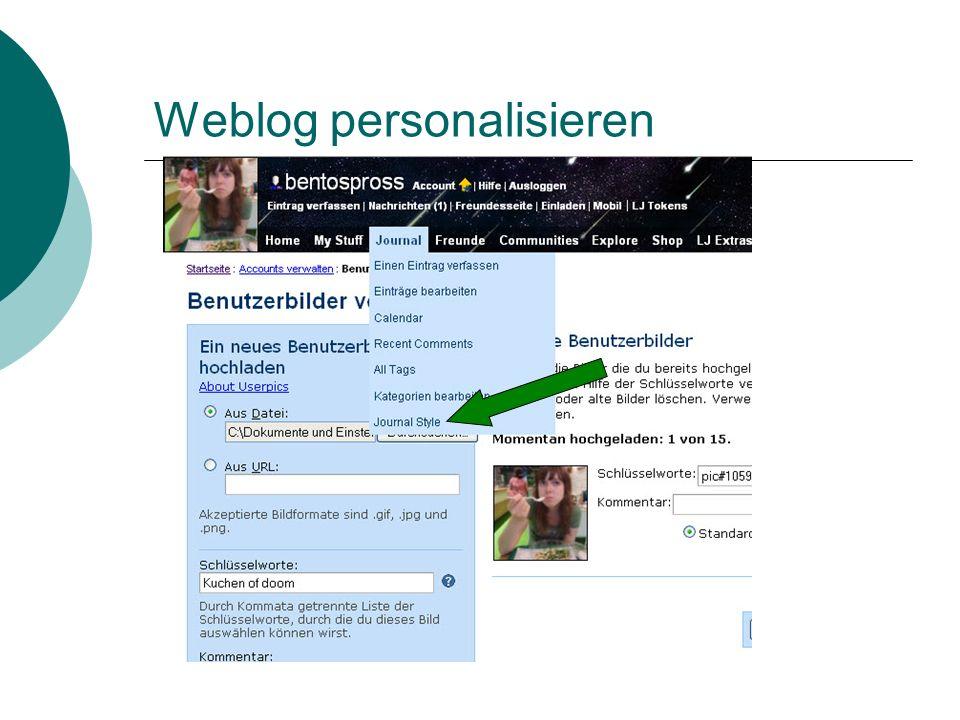 Weblog personalisieren