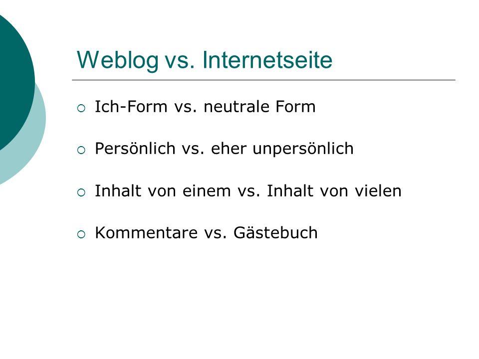 Weblog vs.Internetseite Ich-Form vs. neutrale Form Persönlich vs.