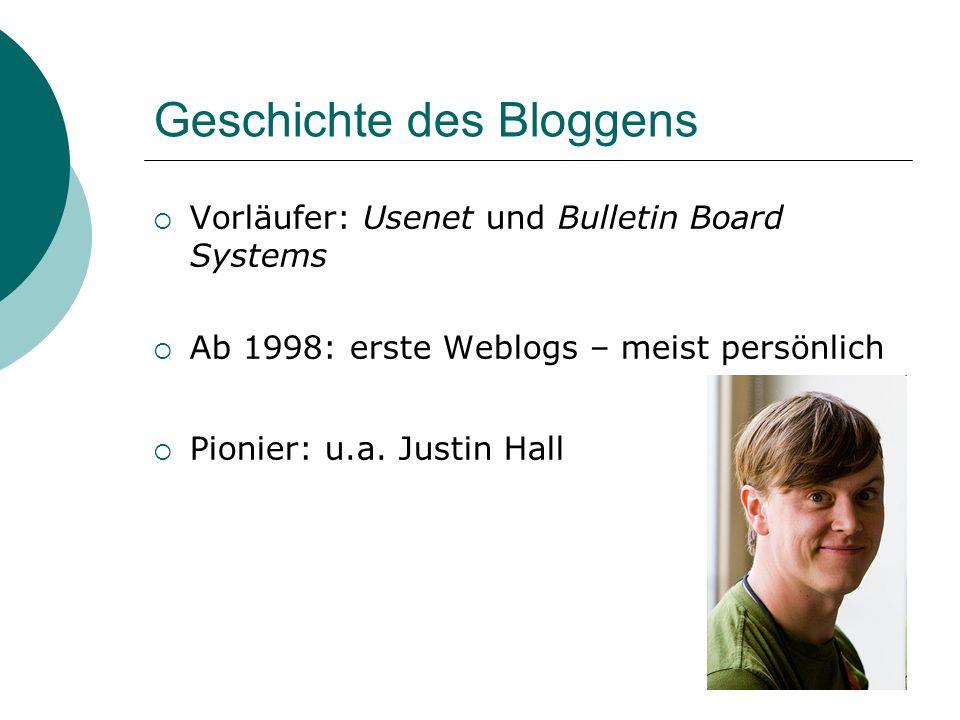 Geschichte des Bloggens Vorläufer: Usenet und Bulletin Board Systems Ab 1998: erste Weblogs – meist persönlich Pionier: u.a.