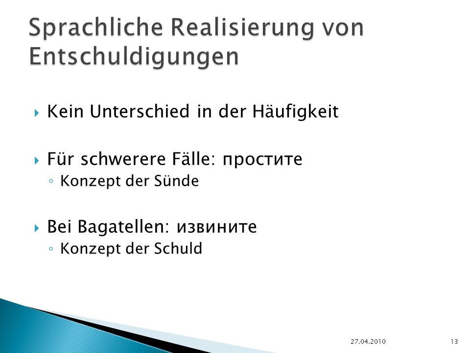 Kein Unterschied in der Häufigkeit Für schwerere Fälle: простите Konzept der Sünde Bei Bagatellen: извините Konzept der Schuld 27.04.201013