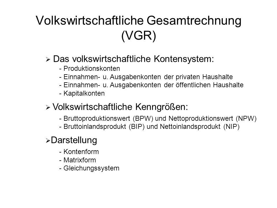 Volkswirtschaftliche Gesamtrechnung (VGR) Das volkswirtschaftliche Kontensystem: - Produktionskonten - Einnahmen- u. Ausgabenkonten der privaten Haush