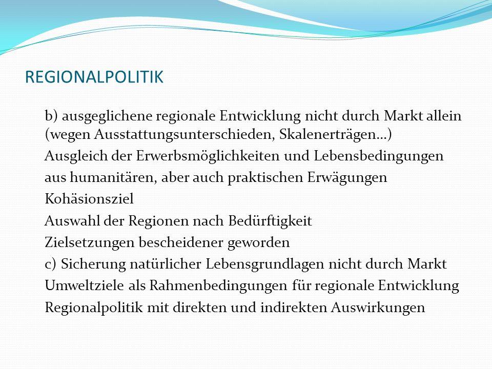 REGIONALPOLITIK b) ausgeglichene regionale Entwicklung nicht durch Markt allein (wegen Ausstattungsunterschieden, Skalenerträgen…) Ausgleich der Erwer
