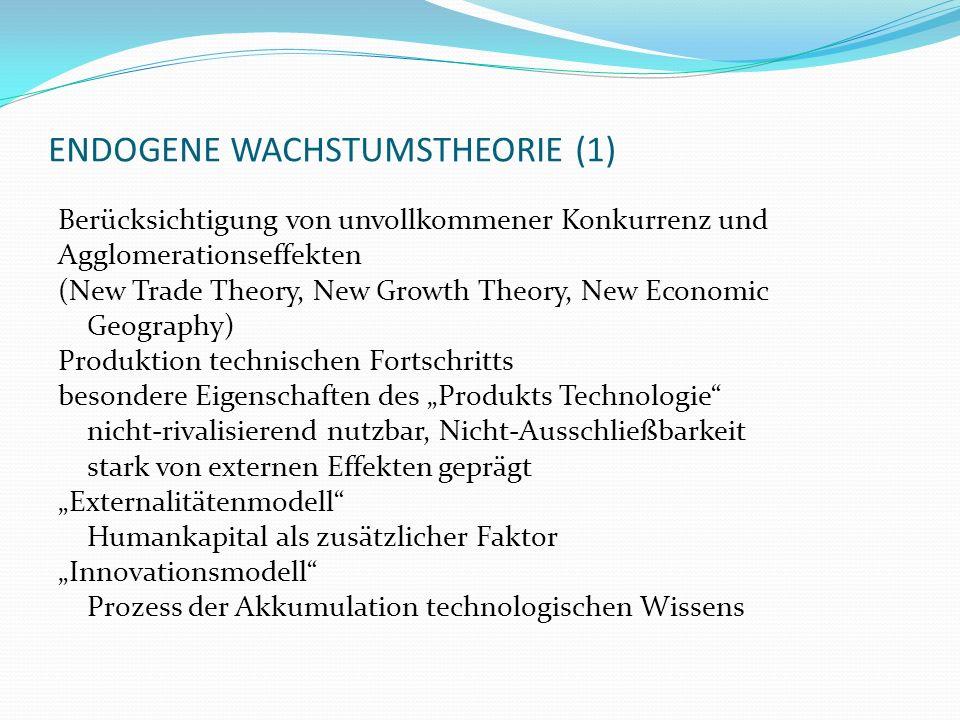 ENDOGENE WACHSTUMSTHEORIE (1) Berücksichtigung von unvollkommener Konkurrenz und Agglomerationseffekten (New Trade Theory, New Growth Theory, New Econ