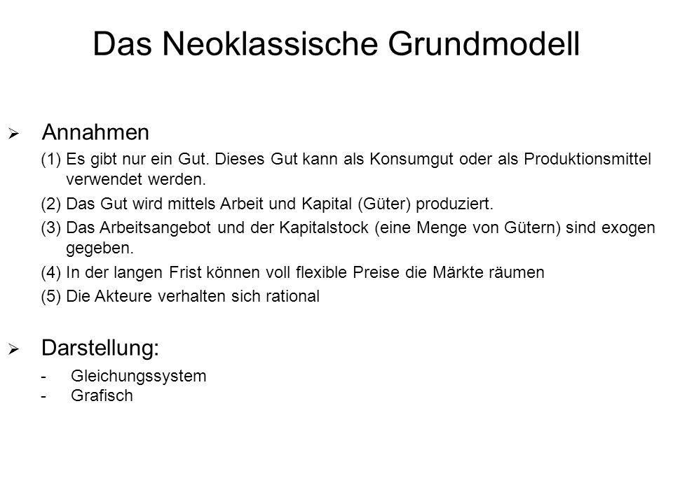Das Neoklassische Grundmodell Annahmen (1)Es gibt nur ein Gut.