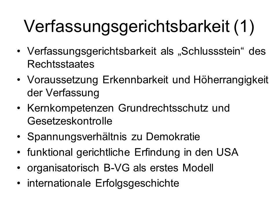 Verfassungsgerichtsbarkeit (1) Verfassungsgerichtsbarkeit als Schlussstein des Rechtsstaates Voraussetzung Erkennbarkeit und Höherrangigkeit der Verfa