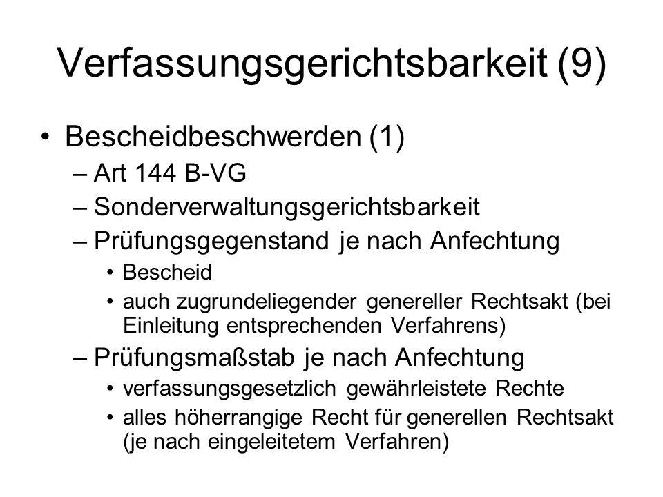 Verfassungsgerichtsbarkeit (9) Bescheidbeschwerden (1) –Art 144 B-VG –Sonderverwaltungsgerichtsbarkeit –Prüfungsgegenstand je nach Anfechtung Bescheid