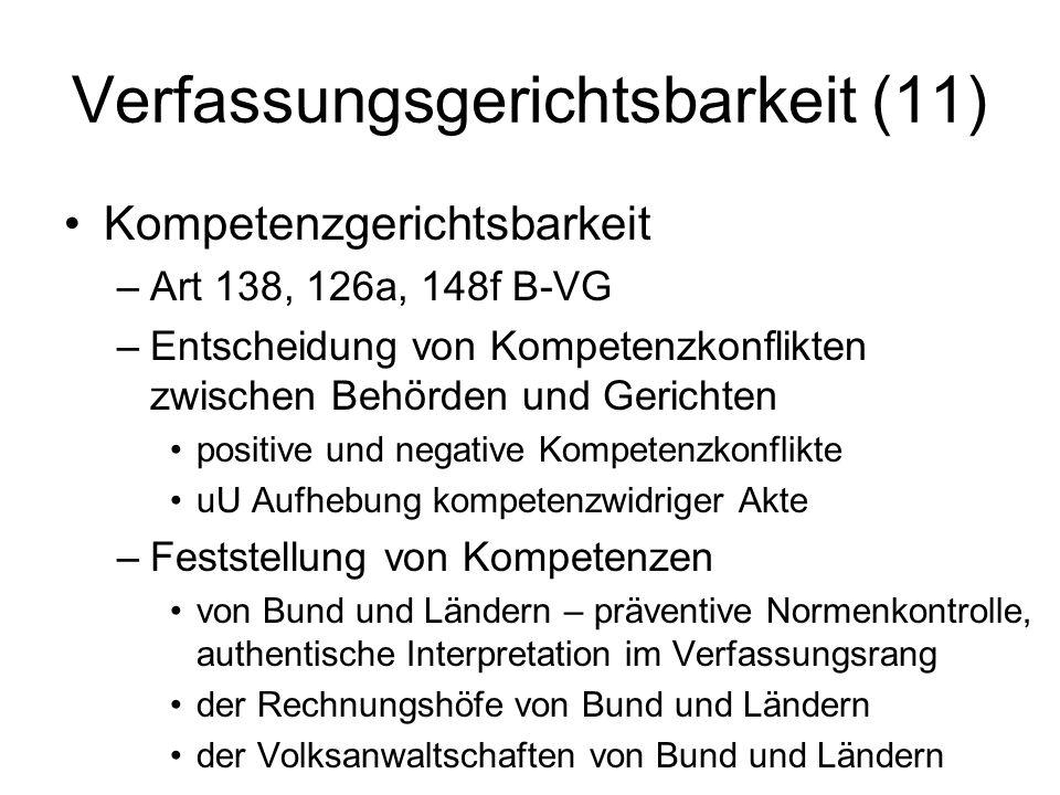 Verfassungsgerichtsbarkeit (11) Kompetenzgerichtsbarkeit –Art 138, 126a, 148f B-VG –Entscheidung von Kompetenzkonflikten zwischen Behörden und Gericht