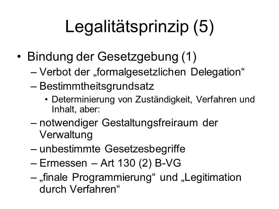 Legalitätsprinzip (6) Bindung der Gesetzgebung (2) –differenzierte Anwendung –Kriterien ua: materienspezifische Determinierbarkeit Eingriffsnähe und Rechtsschutzbedarf Konkretisierbarkeit im Gesetzeskontext oder durch außerrechtliche Regeln –Sonderregeln, ua Art 83 (2) B-VG – behördliche Zuständigkeiten Art 7 EMRK – keine Strafe ohne (klares) Gesetz