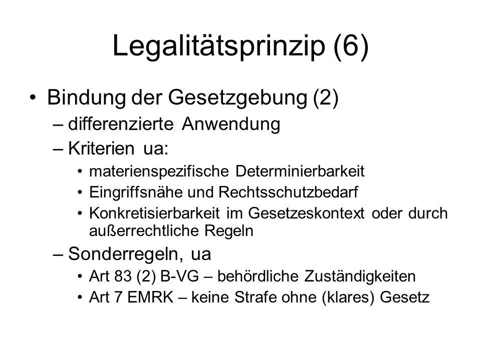 Legalitätsprinzip (6) Bindung der Gesetzgebung (2) –differenzierte Anwendung –Kriterien ua: materienspezifische Determinierbarkeit Eingriffsnähe und R