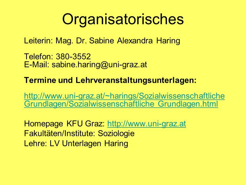 Organisatorisches Leiterin: Mag. Dr. Sabine Alexandra Haring Telefon: 380-3552 E-Mail: sabine.haring@uni-graz.at Termine und Lehrveranstaltungsunterla