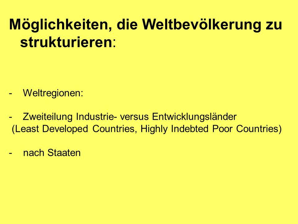 Möglichkeiten, die Weltbevölkerung zu strukturieren: - Weltregionen: - Zweiteilung Industrie- versus Entwicklungsländer (Least Developed Countries, Hi