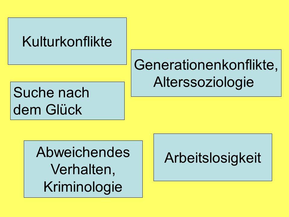 Kulturkonflikte Abweichendes Verhalten, Kriminologie Generationenkonflikte, Alterssoziologie Arbeitslosigkeit Suche nach dem Glück