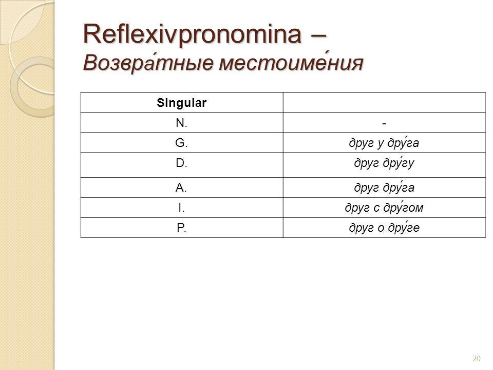 Reflexivpronomina – Возвр а́ тные местоиме́ния Singular N.- G.друг у друга D.друг другу A.друг друга I.друг с другом P.друг о друге 20