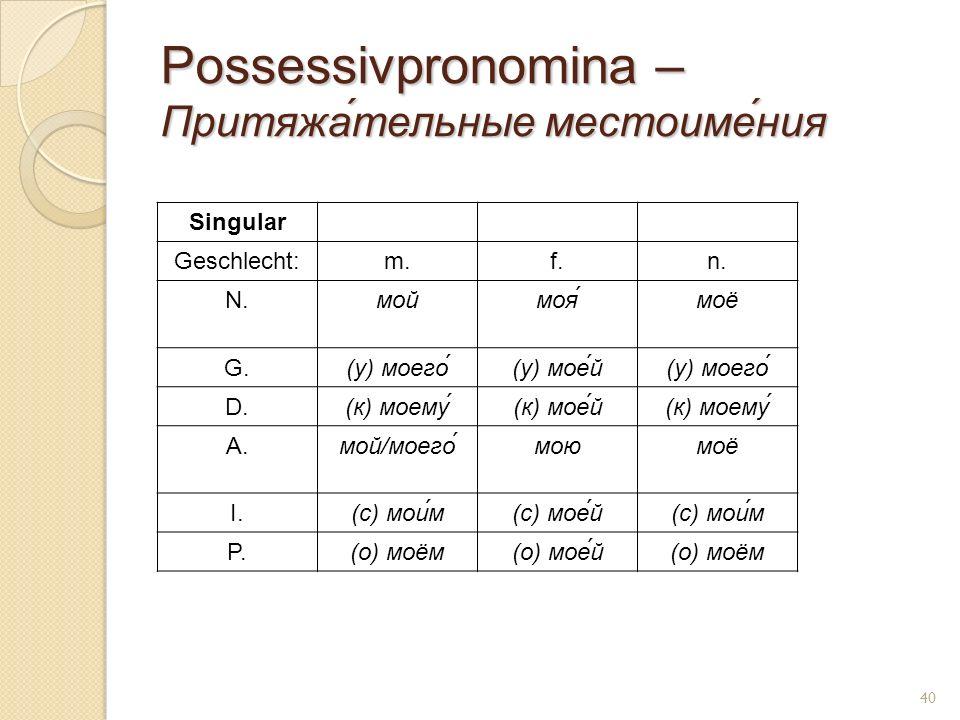 Possessivpronomina – Притяжа́тельные местоиме́ния Singular Geschlecht:m.f.n. N.моймоя́моё G.(у) моего́(у) мое́й(у) моего́ D.(к) моему(к) мое́й(к) моем