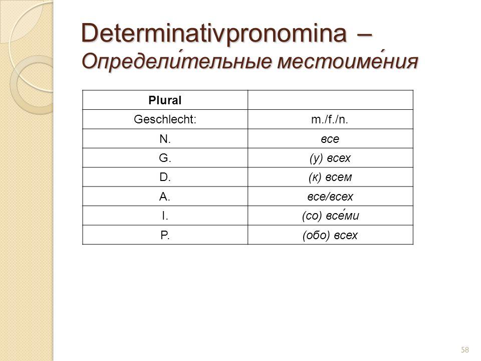 Determinativpronomina – Определи́тельные местоиме́ния Plural Geschlecht:m./f./n. N.все G.(у) всех D.(к) всем A.все/всех I.(co) все́ми P.(обо) всех 58