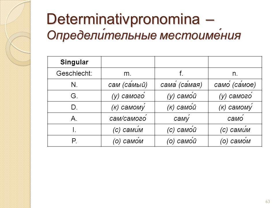 Determinativpronomina – Определи́тельные местоиме́ния Singular Geschlecht:m.f.n. N.сам (са́мый)сама́ (cа́мая)само́ (са́мое) G.(у) самого́(у) само́й(у)