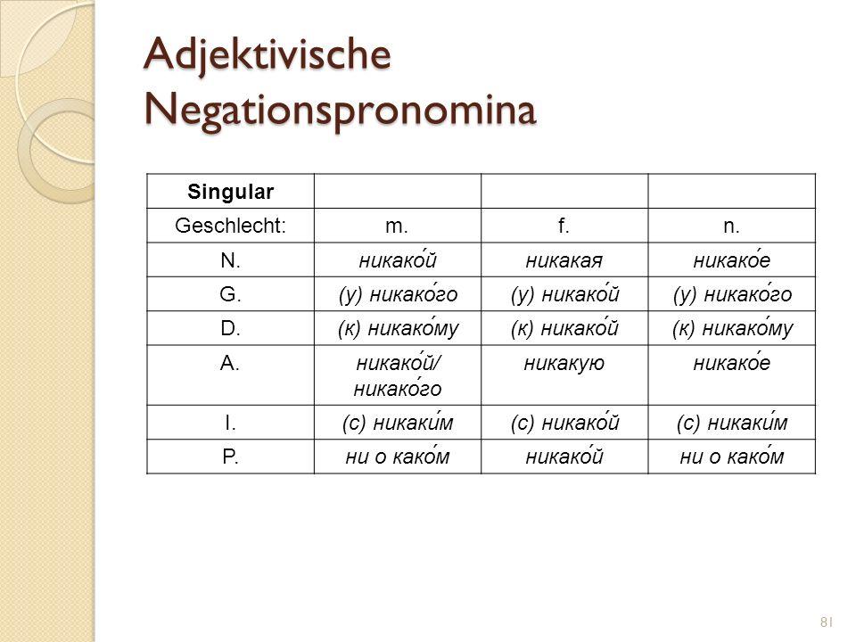 Adjektivische Negationspronomina Singular Geschlecht:m.f.n. N.никако́йникакаяникако́е G.(у) никако́го(у) никако́й(у) никако́го D.(к) никако́му(к) ника