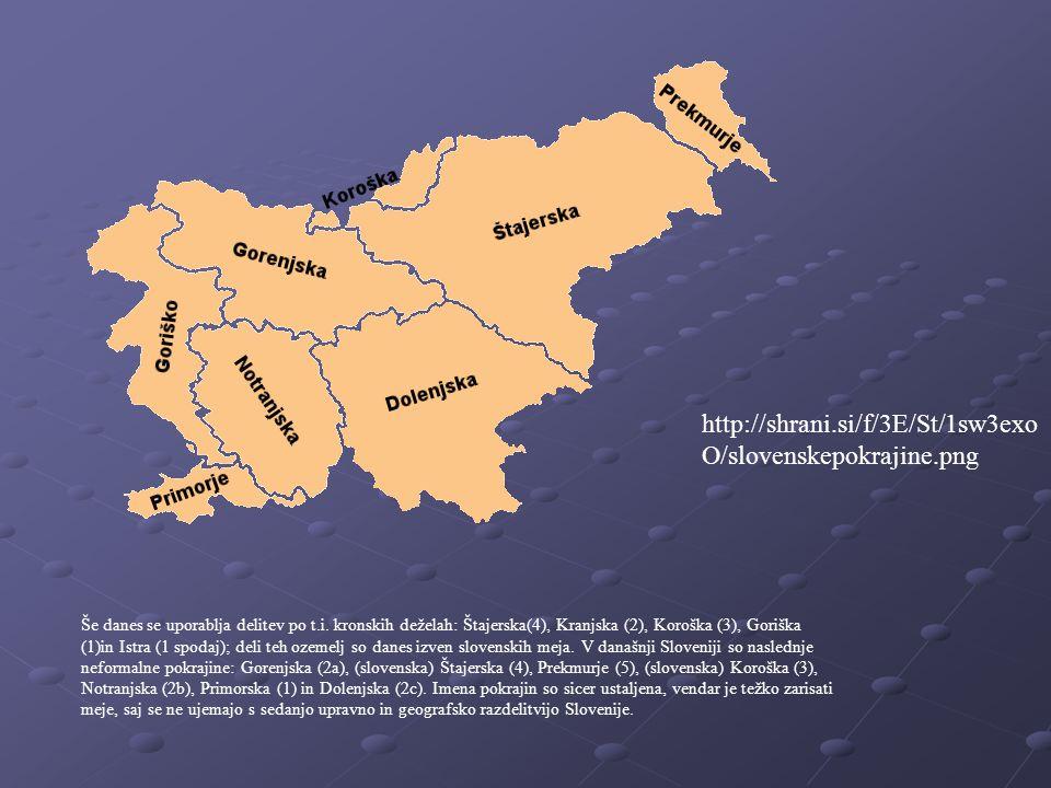 Še danes se uporablja delitev po t.i. kronskih deželah: Štajerska(4), Kranjska (2), Koroška (3), Goriška (1)in Istra (1 spodaj); deli teh ozemelj so d